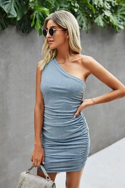 Chic Blue One Shoulder Flattering Dress