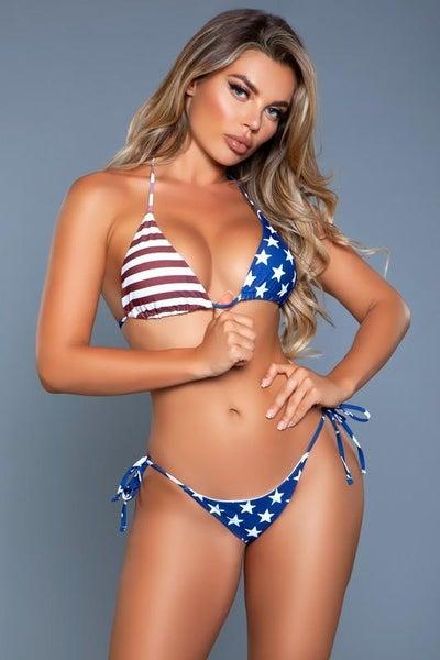 American Flag Two Piece Bikini Swimsuit Set