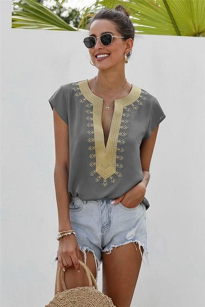 Gold Shadow Embroidered Boho Shift Blouse