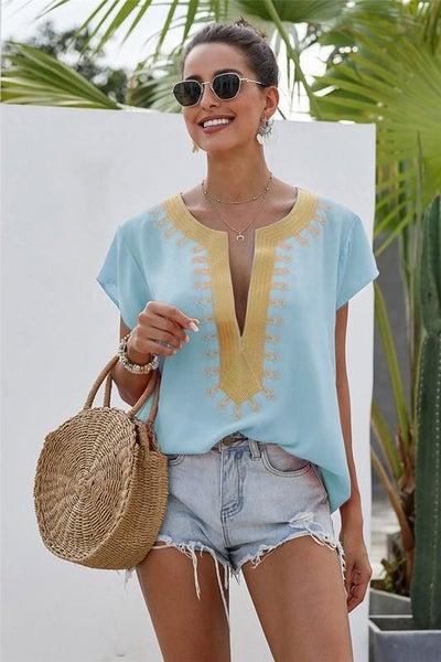 Tiffany Blue & Gold Embroidered Boho Shift Blouse