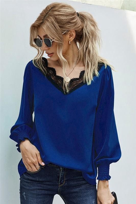 Blue Crochet Lace Scalloped Crochet V-Neck Blouse