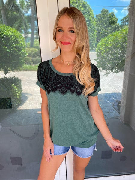 Green & Black Lace Accent Short Sleeve Top