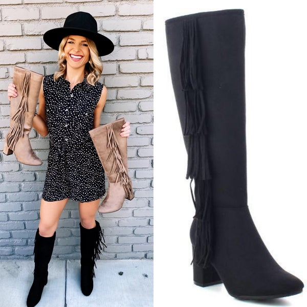 Black Knee High Boho Fringe Boots