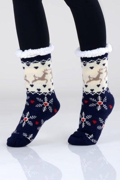 Navy Ivory Holiday Print Faux Sherpa Slipper Socks