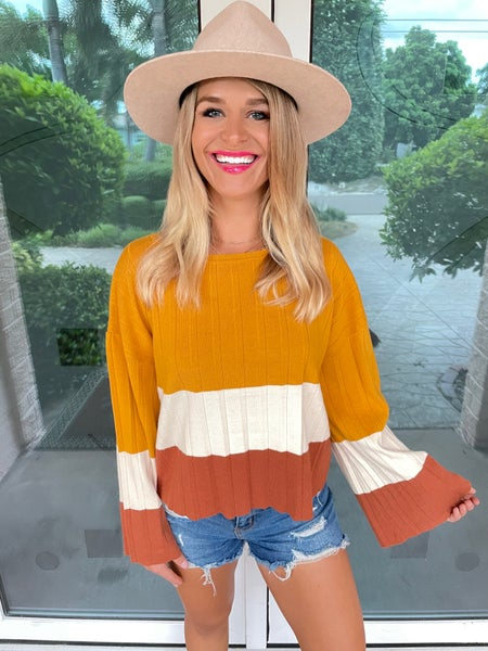 Fall Vibes Long Sleeve Pleated Colorblock Sweater