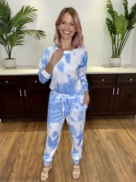 Blue Tie Dye Long Sleeve Top and Pants Set