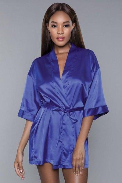 Midnight Blue Satin Sash Getting Ready Robe