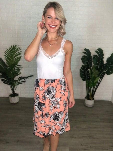 *SALE* Spring Coral Midi Skirt w/ Stretchy Waist