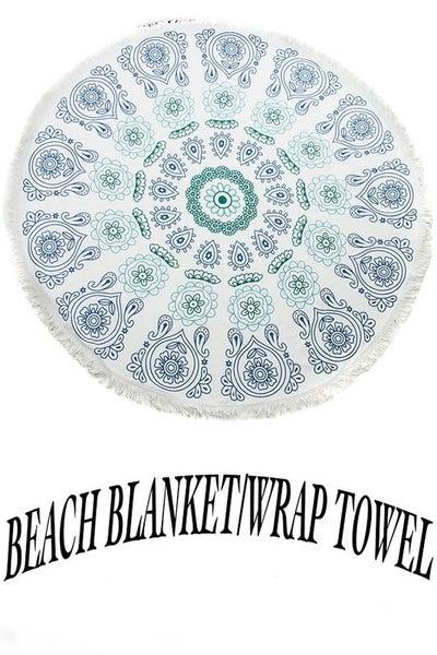 Boho Floral Paisley Circle Beach Blanket Towel