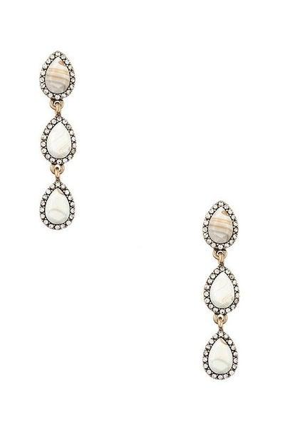 Cream Tri-Stone Framed Pendant Earrings