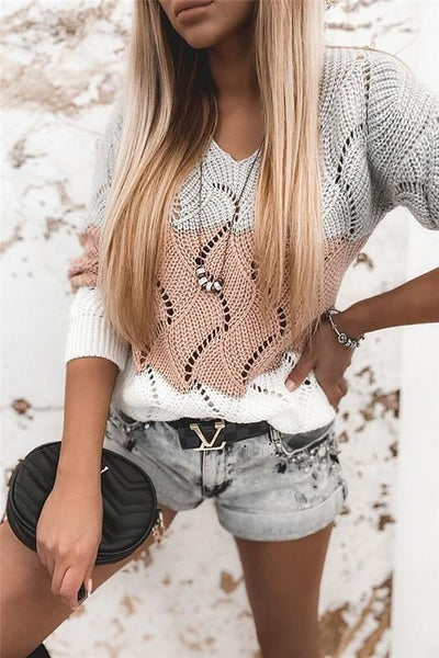 Pink Color Block Wavy Stitching Pullover Sweater