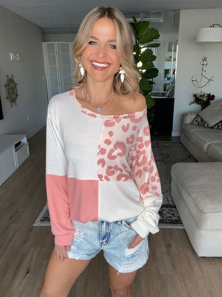 Pink French Terry Color Block Leopard Top