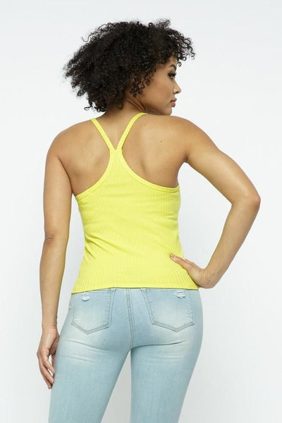 Yellow Ribbed Flattering Racer Back Tank Top