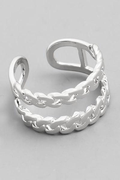 Double Chain Link Ring - Silver