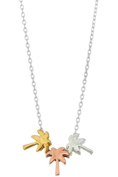 20K Gold Dipped Handmade Tricolor Palm Tree Necklace | Earth | Water | Wind Trio