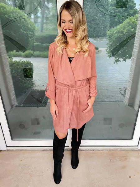 Autumn Pink Longline Peach Skin Jacket | Pockets