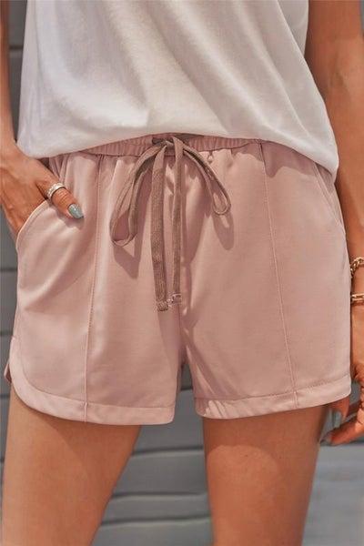 Heat of Summer Pink Drawstring Stretchy Pocket Shorts
