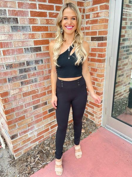 Black Button Detail Stretchy Skinny Slack Pants