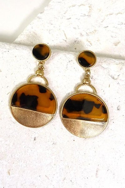 Tortoise Gold Boho Drop Dangle Earrings
