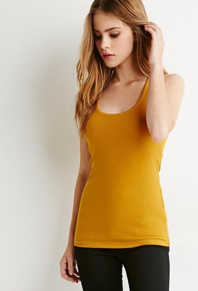 Yellow Ribbed Stretchy Racerback Tank