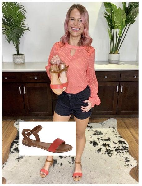 *ON SALE* Grapefruit & Camel Chic Sandals