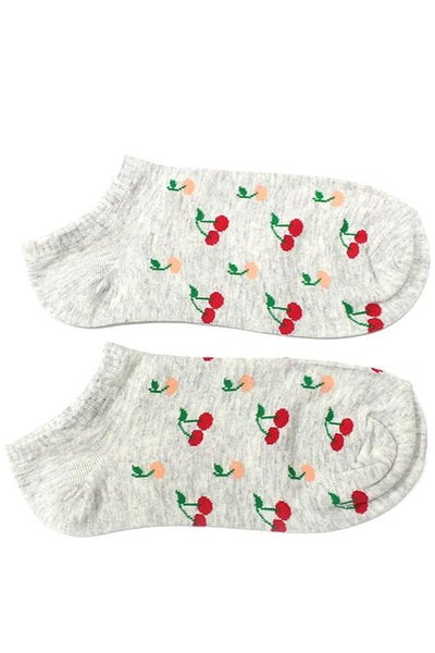 Grey Cherry Ankle Socks