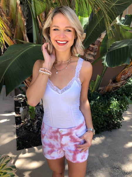 Judy Blue Pink Stretchy Tie Dye High Rise Shorts