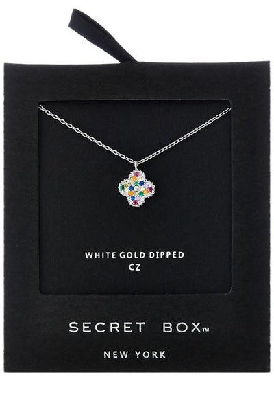 14K White Gold Silver Dainty Clover CZ Pendant Necklace