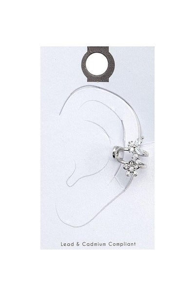 Silver Floral Accent Cuff Earring