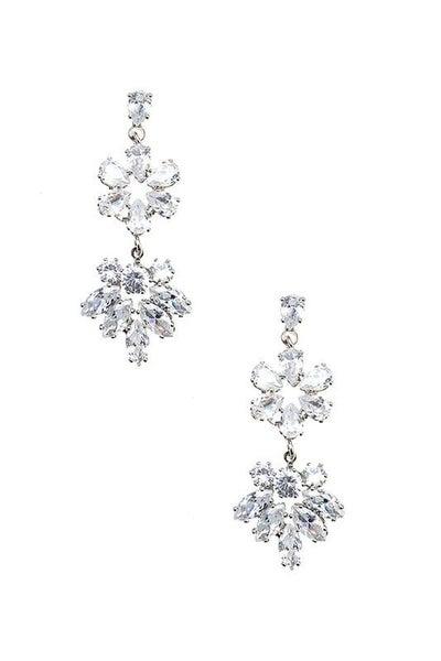 Clear Silver Floral Gem Drop Earrings