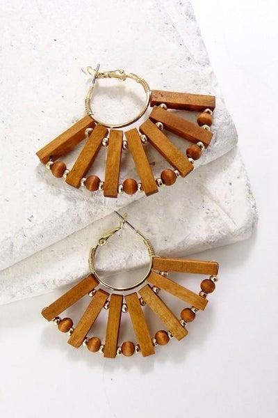 Stunning Boho Wood Fan Earrings