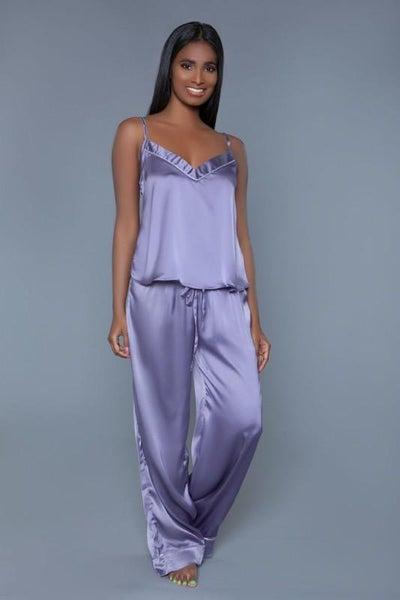 Lilac Two Piece Satin Pajama Set | Adjustable Straps & Drawstring