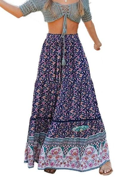 Navy Bohemian Printed Smocked Waist Maxi Skirt