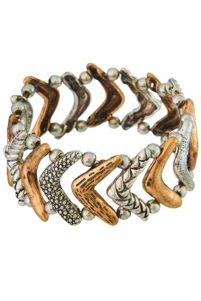 Boho Mixed Pattern Chevron Stretch Bracelet