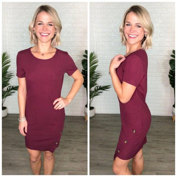 Cute As a Button Wine Tulip Hem Dress