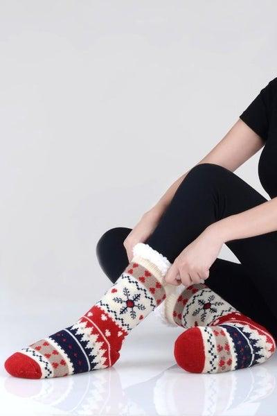 Navy Red Ivory Holiday Print Faux Sherpa Slipper Socks