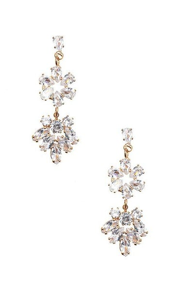 Clear Gold Floral Gem Drop Earrings