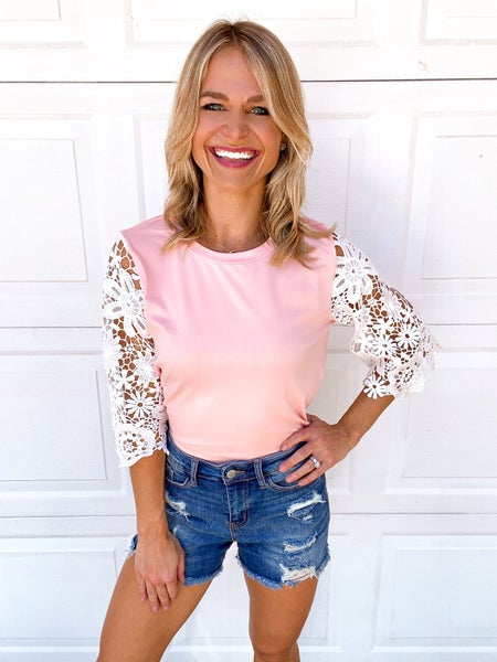 Pink Lace Sleeve Round Neck Top