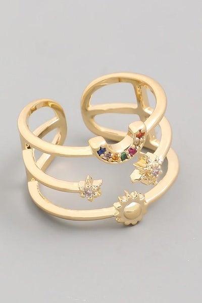 Gold Adjustable Bohemian Triple Band Ring