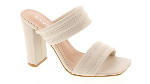 NEW COLOR ALERT! Ivory Slip On Heel Sandals