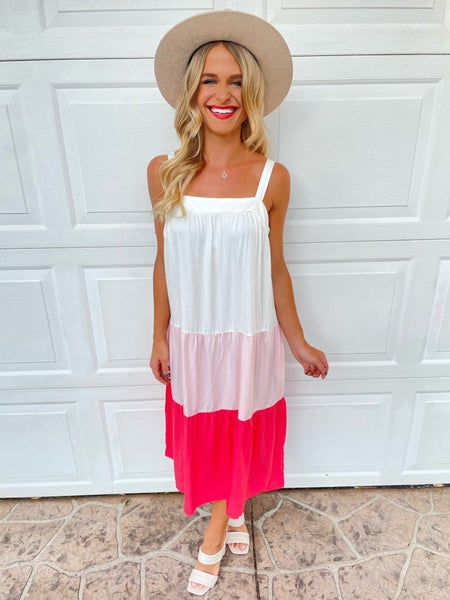 Pretty in Pink Color Block Tiered Midi Dress | Adjustable Straps & Pockets