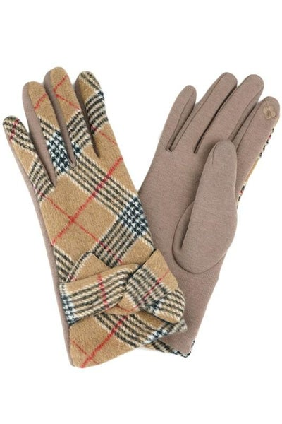 Taupe Plaid Tied Band Gloves