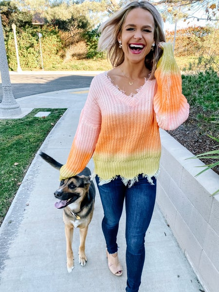 Gone With The Sunset Distressed Sweater