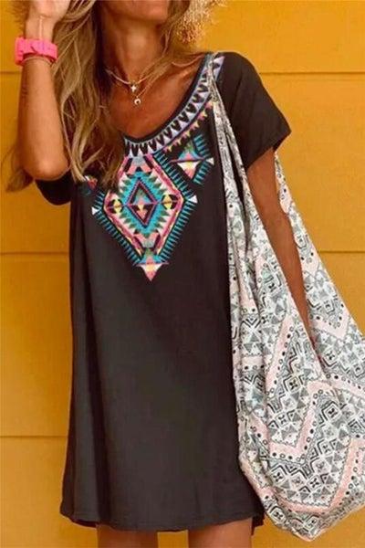 Black Boho Printed Short Sleeve Dress