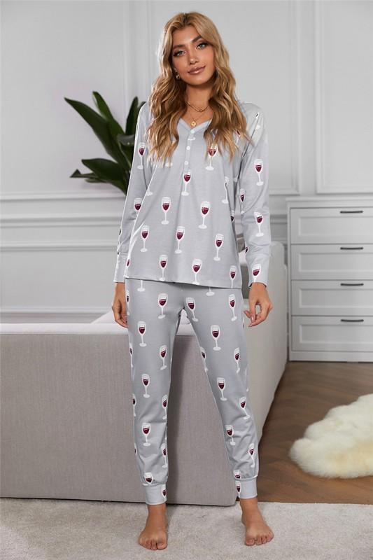Wine Print Button Top and Pants Pajama Set