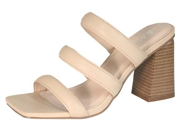 Nude Strappy Chunky Slide On Easy Heels