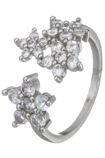 Silver Open CZ Adjustable Ring