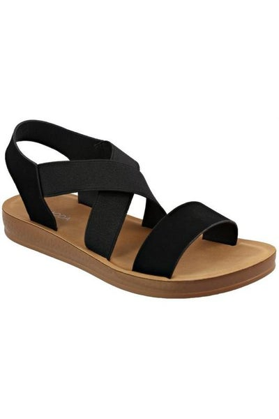 Black Strappy Stretch Slip-On Comfort Sandals