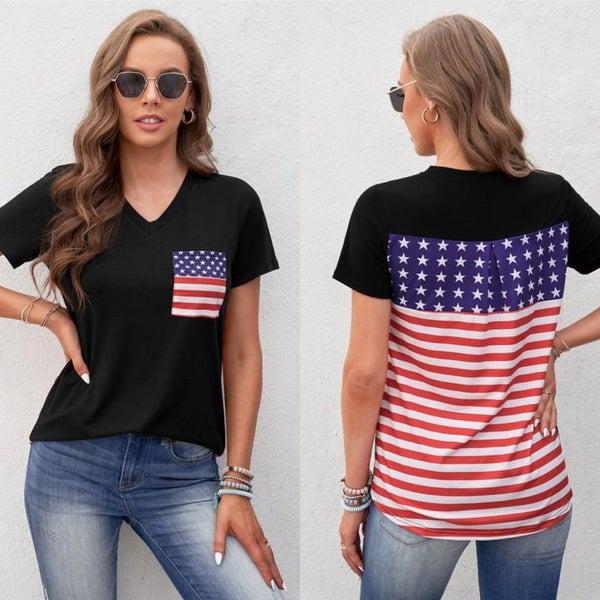 American Black USA Flag Pocket Contrast Top