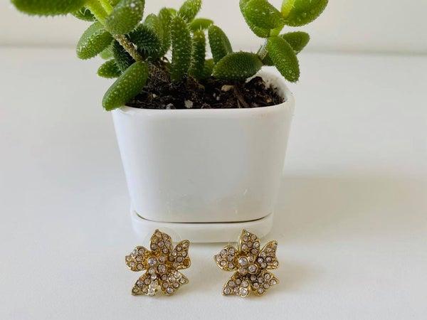 Gold Cubic Zirconia Flower Earrings